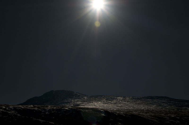 Looking up into the sun at Mt. Bierstadt.  Better use sunscreen.  Wish my beard was grown out.