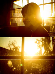 Darling child's got bright smiles (*Seth) Tags: window girl smile silhouette lens diptych flare