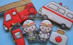 fireman cookies (JILL's Sugar Collection) Tags: cookies foods decoration sugar icing piping picnik foodcolor royalicing sugarcraft