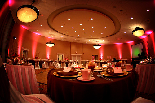 Crowne Plaza ballroom set for the Wedding Reception