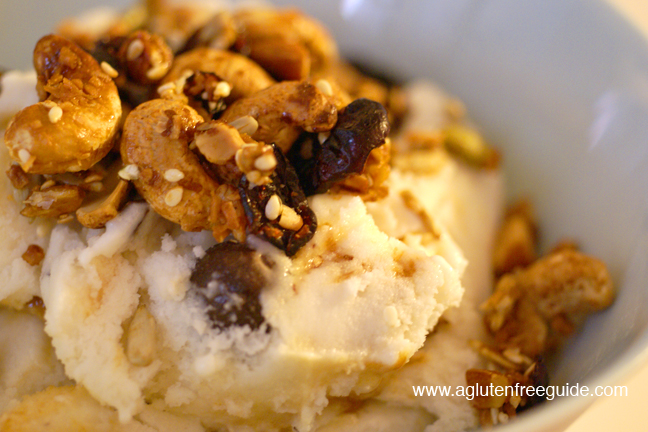 ice cream and gluten free granola