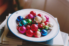 bold, again (abbytrysagain) Tags: christmas decorations film vintage ornaments