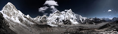 Khumbu glacier and Everest (Florent Chevalier) Tags: voyage trip travel nepal canon geotagged asia wide panoramic glacier valley asie himalaya khumbu everest hdr himalayas nuptse panoramique himalaia kalapattar sigma1020mm   pumori himalaja      himalaje    himalja    himalaji himlaj