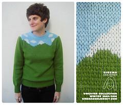 sky cloud mountain wool sweater knitting knit montañas jacquard sirenaconjersey