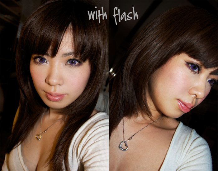 hair color with flash light, looks almost like dark chocolate shade.