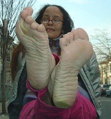 Wrinkled soles on windshield (RoughToughSoleMan) Tags: female fetish foot women toes bare dry heels rough tough soles cracked calloused