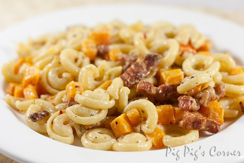 Roasted Butternut Squash Pasta with Bacon Lardons 1