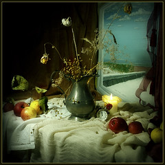 Still Life in December (Arunas S) Tags: stilllife tin candle watch tenn jug vase tina apples merrychristmas oilpainting alarmclock sn tinn latta zinn estao estanho landa  cyna idream kalay dtain  expressyourselfaward stannum newyear2010     alavas