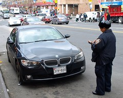 NYPD Traffic Officer writing a Ticket, Bronx, New York City (jag9889) Tags: nyc blue ny newyork car automobile traffic bronx parking police nypd ticket transportation cop bmw vehicle violation 2009 department officer lawenforcement finest firstresponders newyorkcitypolicedepartment bmw328 y2009 149street jag9889