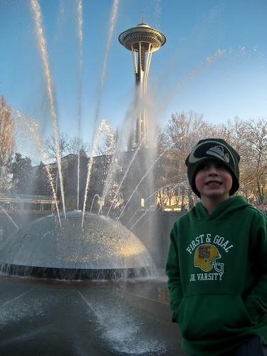 Finn at the fountain