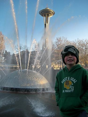 Finn at the fountain