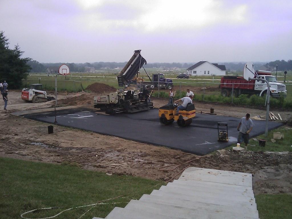 Paving asphalt basketball court