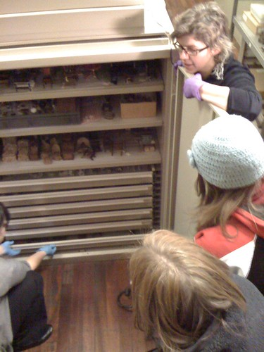 Sarah and Liz exploring the collection with the students