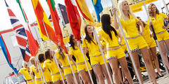 2011-05-15 DTM 2011 Zandvoort Grid Girls (Qsimple, Memories For The Future Photography) Tags: auto show girls people sexy sports netherlands smile car sport yellow female race geotagged grid drive women automobile pretty track power audience walk crowd young engine fas