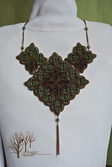 Irish cross (~Gilven~) Tags: necklace beads bead beading beadembroidery japanesebeads czechbeads naturalleather