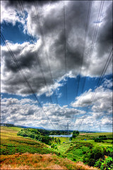 Power (C Ray Dancer) Tags: sky lines clouds landscape edinburgh power cables hdr bonaly