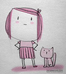 looking at... where? (bengi gencer) Tags: pink cute girl illustration cat