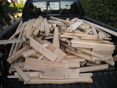 truck bed full of mostly alder scraps, tailgate down