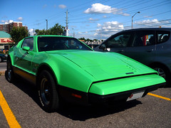 "A Bricklin SV-1, the ""Canadian sports car"". (Steve Brandon) Tags: auto ontario canada car geotagged parkinglot classiccar automobile ottawa voiture suburb nepean  coupe bricklin stripmall sportscar stationnement exoticcar  greencar   sv1   bricklinsv1    merivaleroad  merivalerd ruemerivale cheminmerivale  canadiancar bricklinsafetyvehicleone"