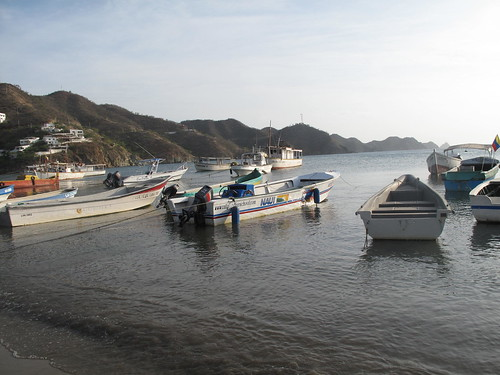 The dive boats and fishing boats in Taganga.