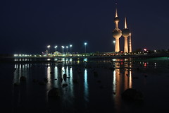 light night (mhels_13) Tags: ocean sea reflection tower seaside rocks nightscape nightshot philippines kuwait darknight lightnight ramil kuwaittower kuwaitnight mhels13