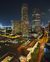 Singapore City Lights (williamcho) Tags: city tourism modern photoshop town singapore colorful traffic lifestyle business trendy hotels rafflescity blending raffleshotel businessdistrict northbridgeroad nonhdr abigfave peaceaward flickraward theperfectphotographer flickrestrellas birdseyeviewsingapore platinumpeaceaward williamcho westinswissotel esplanadetheatreonthebay