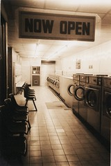 Launderette - Now Open (deepstoat) Tags: street uk windows bw london glass yashicat5 laundromat dryer washer launderette ziess deepstoat