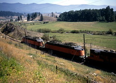 Milwaukee Road, 6 Mi W of Frenchtown, Montana (R R Horne) Tags: orange montana frenchtown railroads milwaukeeroad