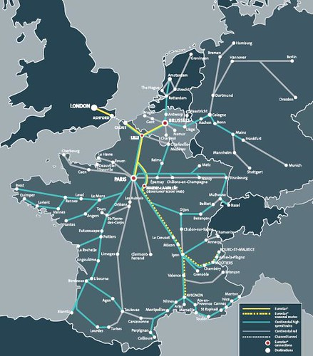 Map of Eurostar & connecting high-speed train routes