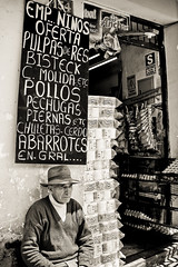 IMG_4244246 PS 02 bw (dojoklo) Tags: food man black chicken peru southamerica hat vertical cuzco writing menu lunch cow chalk market drink beef cusco meat special butcher elderly meal vendor slate language chalkboard blackboard seller peruvian menuboard slateboard