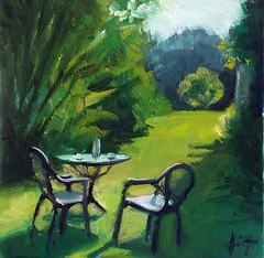 After Lunch (lizaart) Tags: green table lunch exterior guesthouse dailypainting lizahirst lizaart