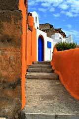 Colourful street (Marite2007) Tags: architecture stairs landscape outdoors greek colorful day steps hellas vivid santorini greece walls 1001nights picturesque soe oia visualart cyclades alleys lanes lporange