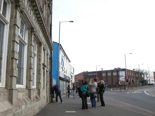 Participants document a building in Digbeth