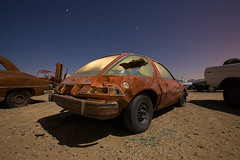 UFOs Have Been Spotted! OMG! (codywbratt) Tags: lightpainting abandoned car night digital canon desert brokenglass mojave 5d rusting amc 2009 decaying pacer startrails 1635