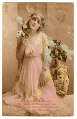 VINTAGE REAL PHOTO POSTCARD BEAUTIFUL WOMAN (Vintage Views) Tags: woman victorian vintagepostcard pinkdress oldpostcard blueflowers vintagewoman