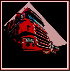 in the frame, Scania, rot, mit Rahmen, trucks and colors (Polo Scher) Tags: red rot nikon cab frame scania cabover d90 frogview