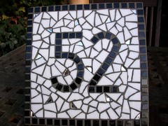 Vitreous glass and mirror.  (House number 52)  20x20cm (fiona parkes) Tags: glass mirror mosaic mosaics number housename 52 housenumber glasstiles mosaichousenumber