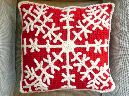 Snowflake Crochet Pillow