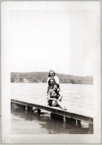 Three girls on dock