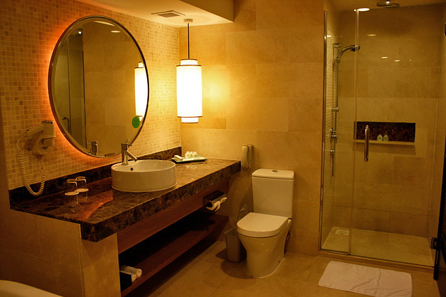 Bathroom is gorgeous, with separate shower stall too