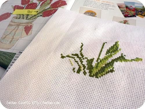 Spring Tulips Cross Stitch WIP