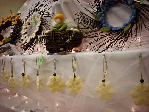 my ornaments among beautiful wreaths!