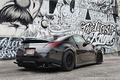 Scottie's Twin Turbo 350z (CandlestickPark) Tags: car graffiti la nikon track nissan wheels automotive springs downtownla nikkor custom twinturbo lowered dtla 350z jdm carbonfiber bbk brembo 18s enkei amuse boosted d300 1755mm 1755mmf28 rarejdm