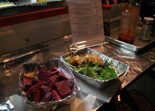 Beet Home Fries and Fried Brussel Sprout Salad