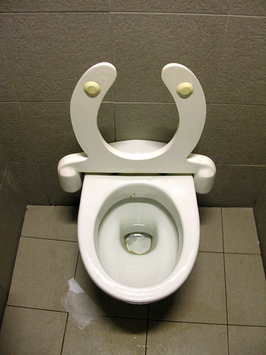 Toilet with weighted seat
