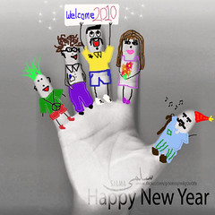 Happy New Year 2010 (Salma Alzaid ) Tags: family bw colors crazy random scan celebration ppl welcome draw scanning cartoons salma happynewyear 2010 scanography askme   raundomcrazydrawing salmaphotography httpwwwformspringmemlg0o0fa