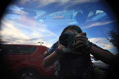 Reflecto (azchick) Tags: camera portrait sky reflection car clouds self canon person shiny reflect