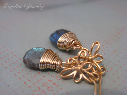 Blue Flash Labradorite Earrings