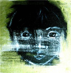 Native boy (Claudia Horsey) Tags: blackandwhite acrylic oilpastel nativeboy goldbackground minipaint claudiahorsey