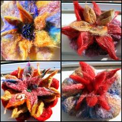 flores de otoo en proceso (Kathy Crafts Designs) Tags: flower wool felting flor felt merino seda felts fieltro lanamerino
